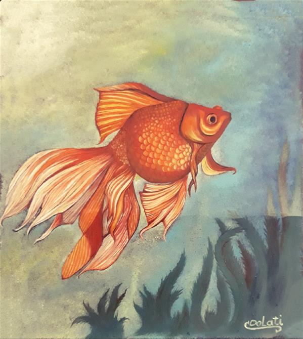 هنر نقاشی و گرافیک محفل نقاشی و گرافیک سمانه دولتی نام اثر : ماهی کوچک تنها هنرمند نقاش : سمانه دولتی  تکنیک : رنگ روغن  Artist  : Samaneh Dolati  ID Instagram  : @ojan_handicrafts  ID Telegram : @sdolati2