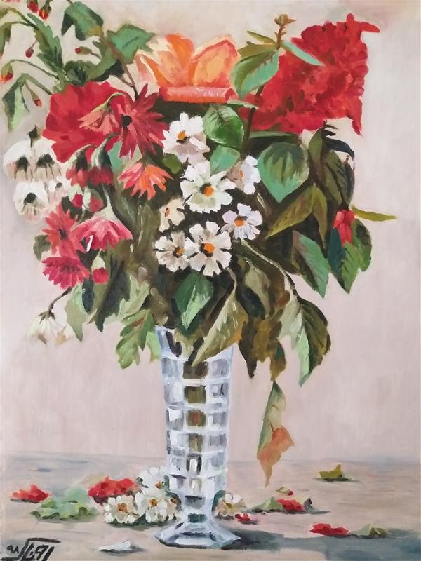 هنر نقاشی و گرافیک محفل نقاشی و گرافیک روناک حیدری نقاشی رنگ روغن، کپی اثری از استاد محسنی کرمانشاهی، ابعاد ۳۵ در ۴۸، دارای قاب