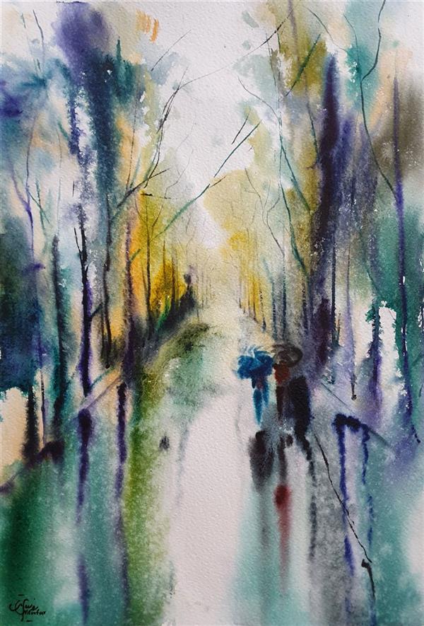 هنر نقاشی و گرافیک محفل نقاشی و گرافیک نیلوفر روستایی روز بارانی کار شده با #آبرنگ #اوریجینال سایز بدون قاب و پاسپارتو ۴۸×۳۳