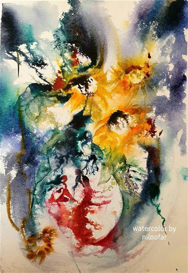 هنر نقاشی و گرافیک محفل نقاشی و گرافیک نیلوفر روستایی اثر #انتزاعی #گل آفتابگردان کار شده با #آبرنگ #اوریجینال سایز بدون قاب ۴۷×۳۲