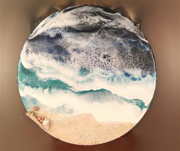 هنر نقاشی و گرافیک محفل نقاشی و گرافیک مرجان ناظران استند/تابلو دریا کار شده با سه لایه رزین اپوکسی ابعاد:قطر ۳۰cm رزین #رزین اپوکسی# دریا #دکوراسیون منزل# مبلمان #نقاشی #تابلو #نقاشی# نمایشگاه نقاشی #گالری هنر# هنر# ابستره #