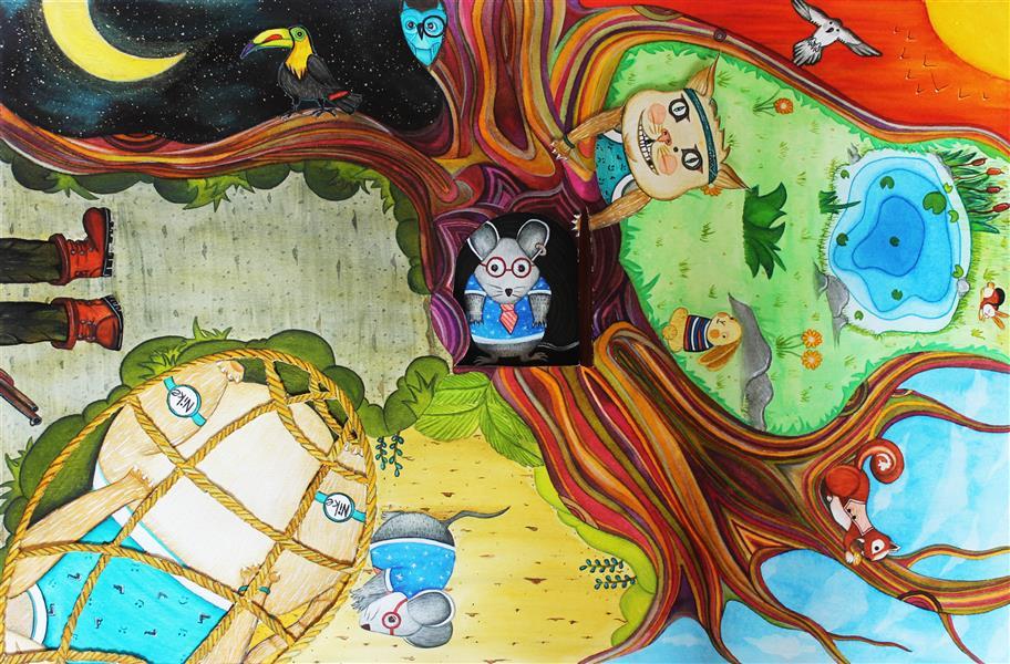 هنر نقاشی و گرافیک محفل نقاشی و گرافیک saba abdollahi تکنیک#اکولین ابعاد40 در 60  در لانه ی موش باز و بسته میشود یکی از داستان های #کلیله و #دمنه می باشد داستان موش و گربه