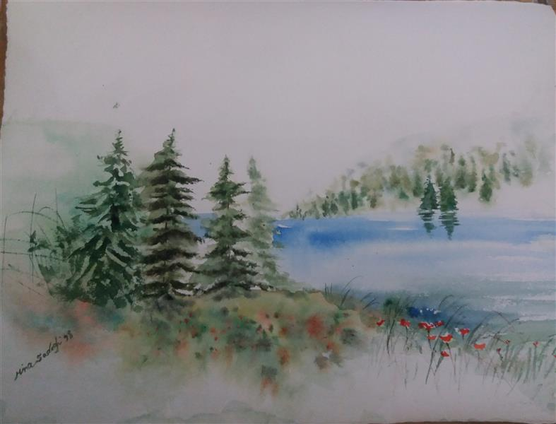 هنر نقاشی و گرافیک محفل نقاشی و گرافیک مینا صادقی #ابعاد ۳۷×۲۷ تکنیک: #آبرنگ #طبیعت #دریاچه #جنگل