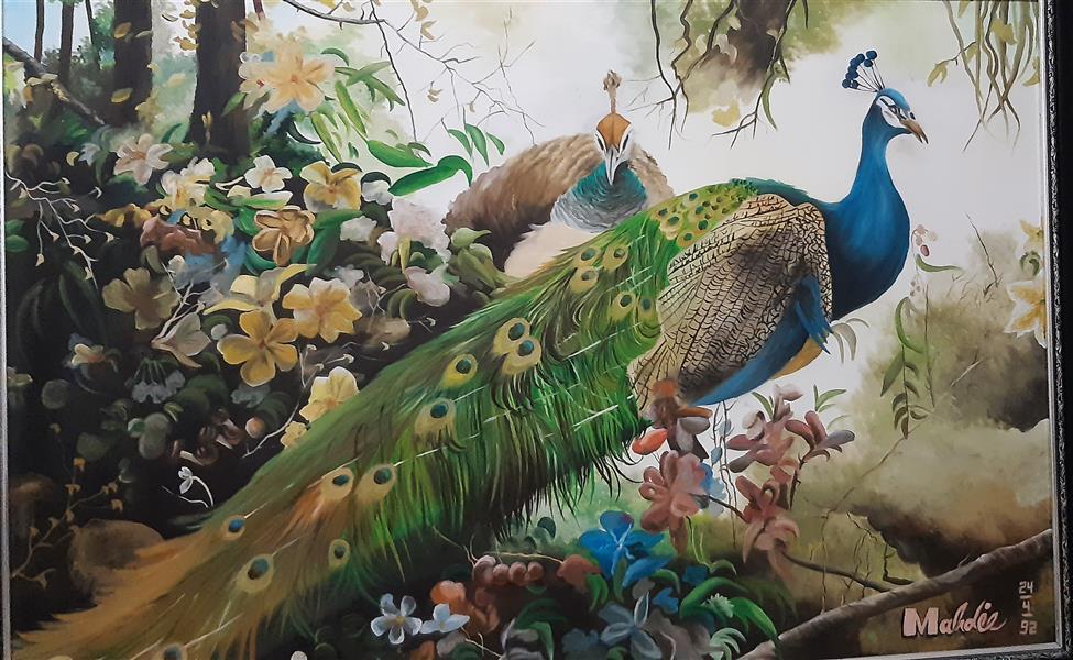 هنر نقاشی و گرافیک محفل نقاشی و گرافیک مهدیه خطیر #طاووس #رنگوروغن سایز ۱۲۰×۸۰
