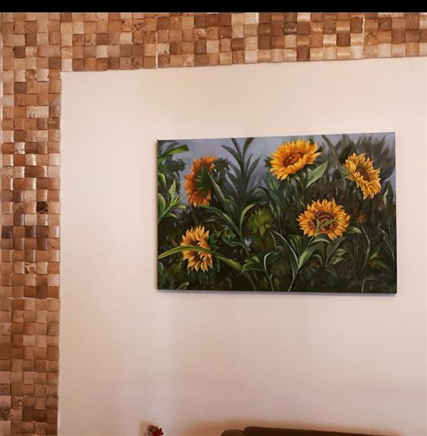 هنر نقاشی و گرافیک محفل نقاشی و گرافیک لیلی رحیمیان مزرعه گل افتاب گردون سایز:۶۰*۹۰ بوم دیپ🌷
