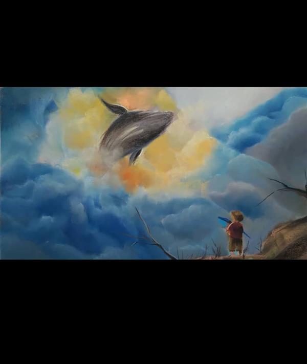 هنر نقاشی و گرافیک محفل نقاشی و گرافیک هانیه کرجی نقاشی پاستل گچی رویای کودکی. اندازه تابلو 50 در 70 همراه با قاب پاسپارتو