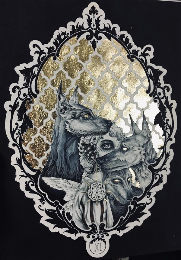 """هنر نقاشی و گرافیک محفل نقاشی و گرافیک زهرا معتمدنیا #مینیاتور #فانتزی """"الهه نگهبان"""" با استفاده از ماژیک و راپید و ورق طلا سایز:33*25"""