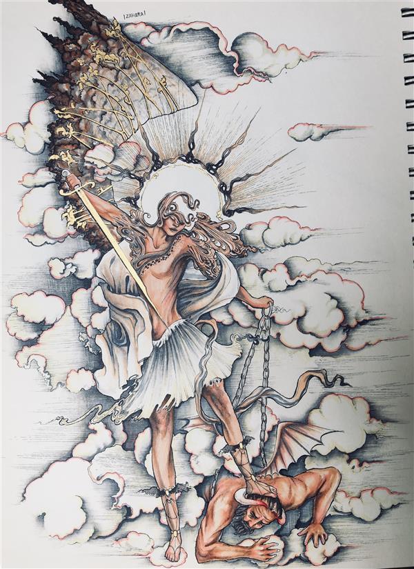 هنر نقاشی و گرافیک محفل نقاشی و گرافیک زهرا معتمدنیا #مینیاتور#فانتزی مبارزه فرشته و شیطان ماژیک و راپید و گواش طلایی سایز:33*25