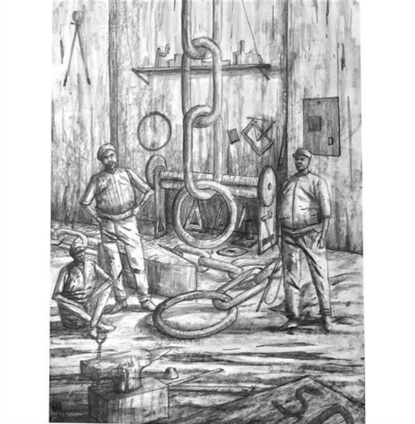 هنر نقاشی و گرافیک محفل نقاشی و گرافیک ایلتای سید نام اثر: کارگران مواد:مداد روی مقوا #ایلتای_سید