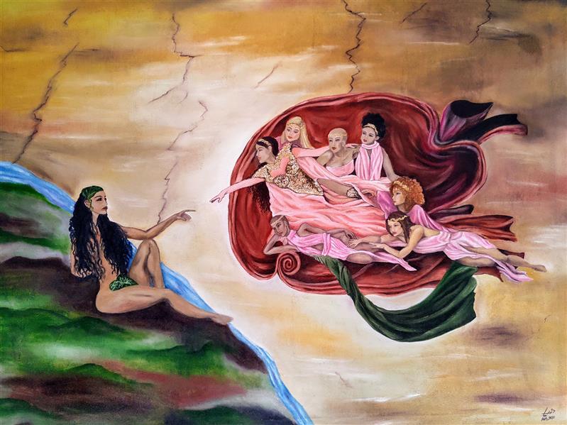 هنر نقاشی و گرافیک محفل نقاشی و گرافیک world God is a woman یه ورژن متفاوت از اثر آفرینش انسان میکل آنژ. ۲۷ساعت ،۳۳۸ترک آهنگ واسش صرف شده. ممنون میشم حمایت کنین🧡 #رنگ_روغن #آفرینش_انسان #میکل_آنژ