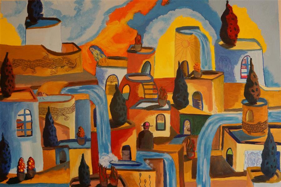 هنر نقاشی و گرافیک محفل نقاشی و گرافیک مجتبی فخار 100*70شهر و اژدها اکلریک