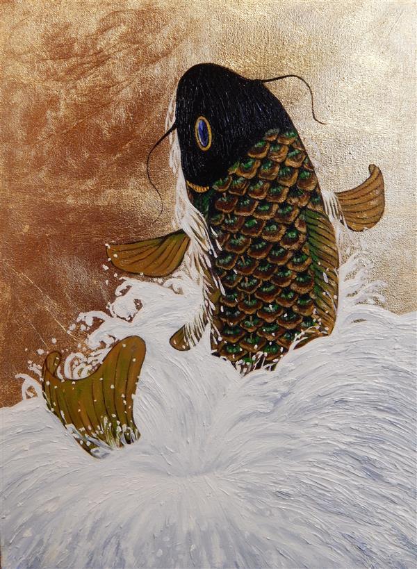 هنر نقاشی و گرافیک محفل نقاشی و گرافیک محبوبه آسا تکنیک #ورق_طلا روی بوم قابی ابعاد:۴۰×۳۰
