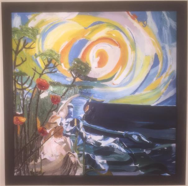 هنر نقاشی و گرافیک محفل نقاشی و گرافیک اورعی تابلو نقاشی اکرولیک با طرح برجسته مدرن  ابعاد 80-80با قاب