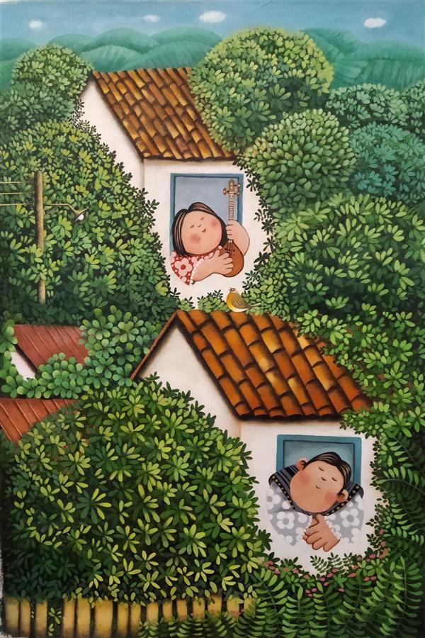 هنر نقاشی و گرافیک محفل نقاشی و گرافیک حمید شاطری اکریلیک روی پارچه بوم+ قاب - اندازه : 97×68