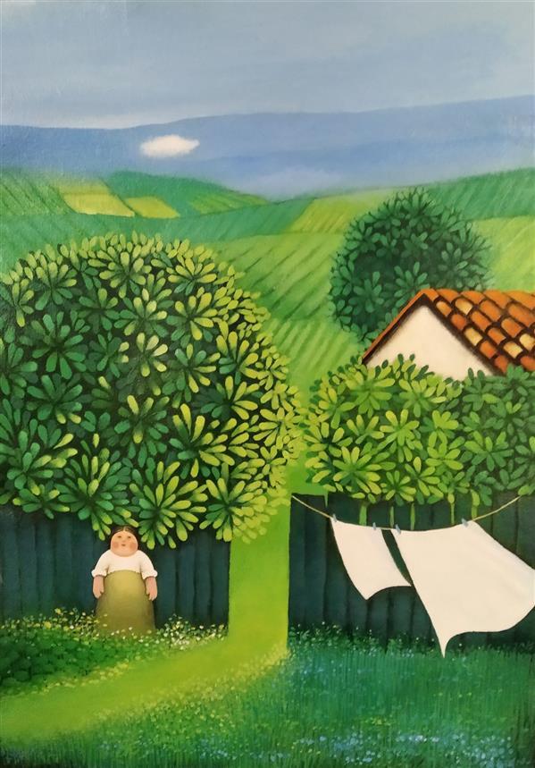 هنر نقاشی و گرافیک محفل نقاشی و گرافیک حمید شاطری اکرولیک روی پارچه بوم اندازه : 57x41 با قاب