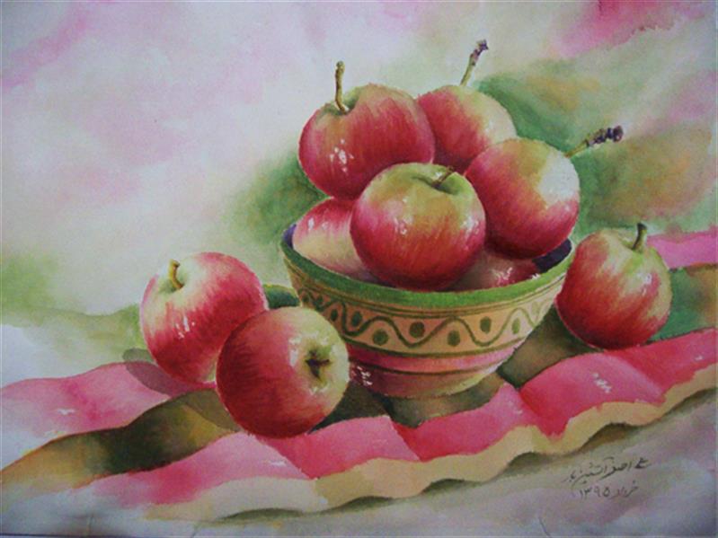هنر نقاشی و گرافیک محفل نقاشی و گرافیک علی اصغر آتشین بار نام اثر# سیب های گلاب #تکنیک: آبرنگ - ابعاد 22*30