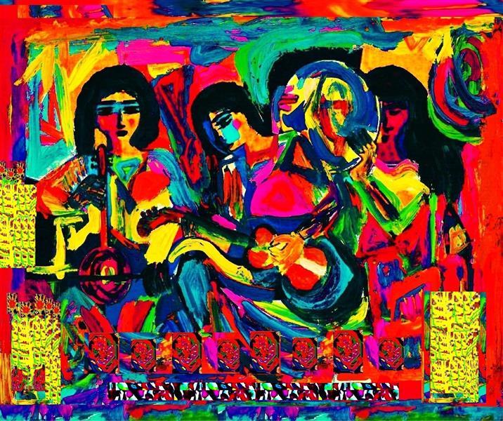هنر نقاشی و گرافیک محفل نقاشی و گرافیک delaram ardalan سه نوازنده دلارا اردلان