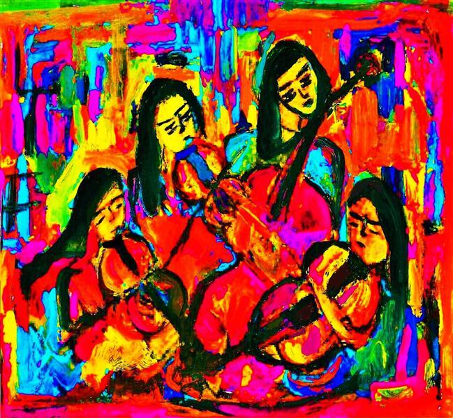 هنر نقاشی و گرافیک محفل نقاشی و گرافیک delaram ardalan چهار نوازنده