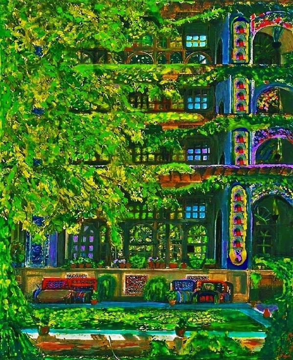 هنر نقاشی و گرافیک محفل نقاشی و گرافیک delaram ardalan خانه ای پشت درختان