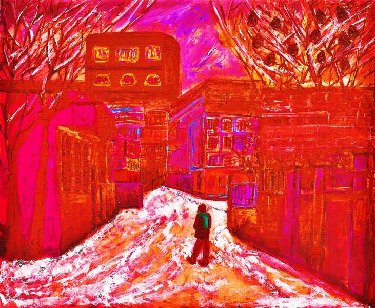 هنر نقاشی و گرافیک محفل نقاشی و گرافیک delaram ardalan برف سرخ و سکوت کاج ها دلارام اردلان