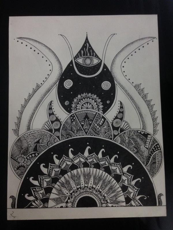 هنر نقاشی و گرافیک محفل نقاشی و گرافیک نگین قیمی #ماندالا#راپید نام اثر:چشم سوم