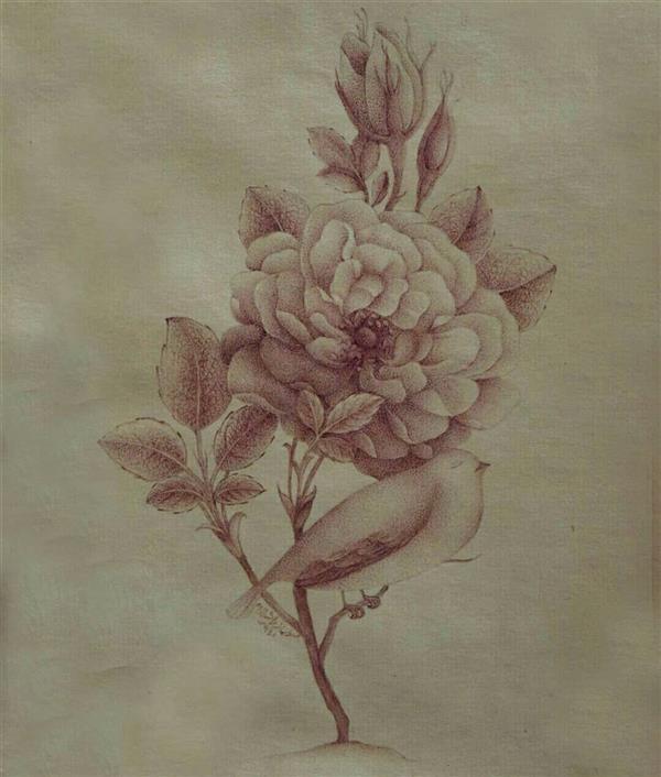 هنر نقاشی و گرافیک محفل نقاشی و گرافیک سولماز راشدزاده گل و مرغ با مرکب قهوه ای روی کاغذ رنگ شده و اهار مهره شده. تکنیک: پرداز ابعاد  بدون پاسپارتو :11*17 ابعاد با پاسپارتو: 26*32
