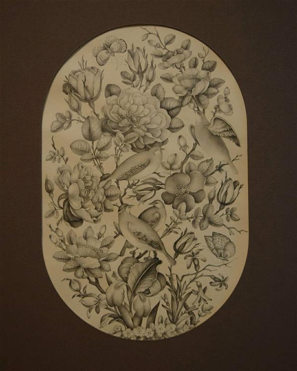 هنر نقاشی و گرافیک محفل نقاشی و گرافیک سولماز راشدزاده #گل_مرغ با پرداز آب مرکب سیاه روی کاغذ آهار مهره
