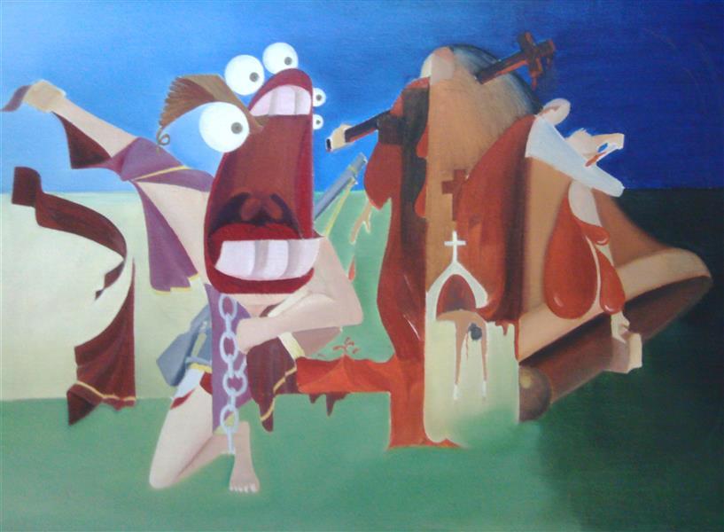 هنر نقاشی و گرافیک محفل نقاشی و گرافیک بهمن بیدقی #سمت راست تصویر سورئالی از قرون وسطی ، سمت چپ رنسانس#تابلوی رنگ روغن#
