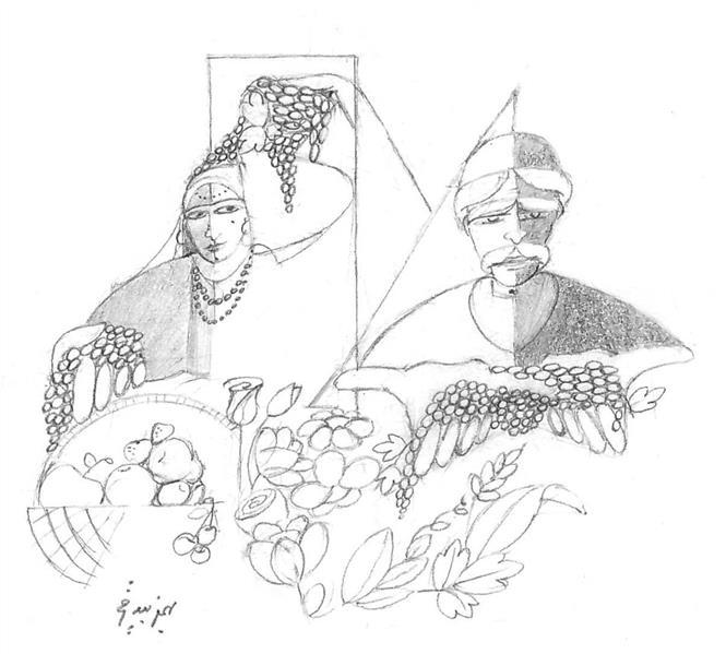 هنر نقاشی و گرافیک محفل نقاشی و گرافیک بهمن بیدقی #باغ انگور#یلدا بر همگی مبارکباد