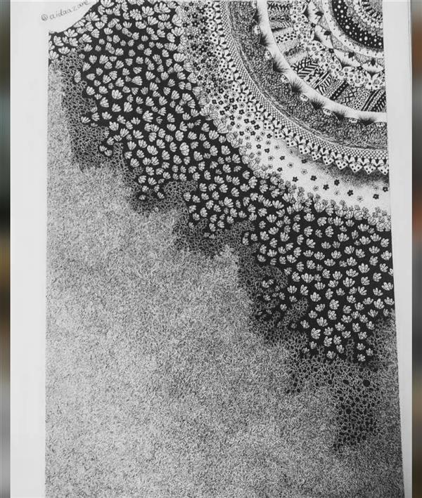 هنر نقاشی و گرافیک محفل نقاشی و گرافیک ایدا زارع میرزایی کار ترکیب چند سبک از جمله ماندالا هستش با ریزه کاری زیادی با راپید کار شده سایز A3 قیمت اولیه ۸۵۰ تومان بوده اما به دلیل یک نقص خیلی کوچیک کنار صفحه (آب ریخته شده کنار کادر) تخفیف خورده