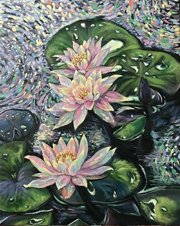 هنر نقاشی و گرافیک محفل نقاشی و گرافیک سهیلا حسن زاده برکه بارانی رنگ و روغن روی بوم سایز 80*60