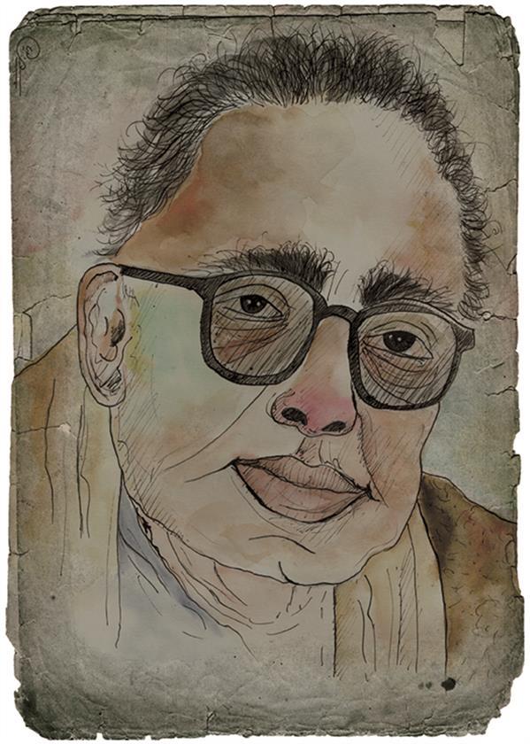 هنر نقاشی و گرافیک محفل نقاشی و گرافیک رویا جعفری تصویرسازی کاریکاتوری عباس کیارستمی ابعاد: 20 در 30 تکنیک: #آبرنگ #قلم فازی