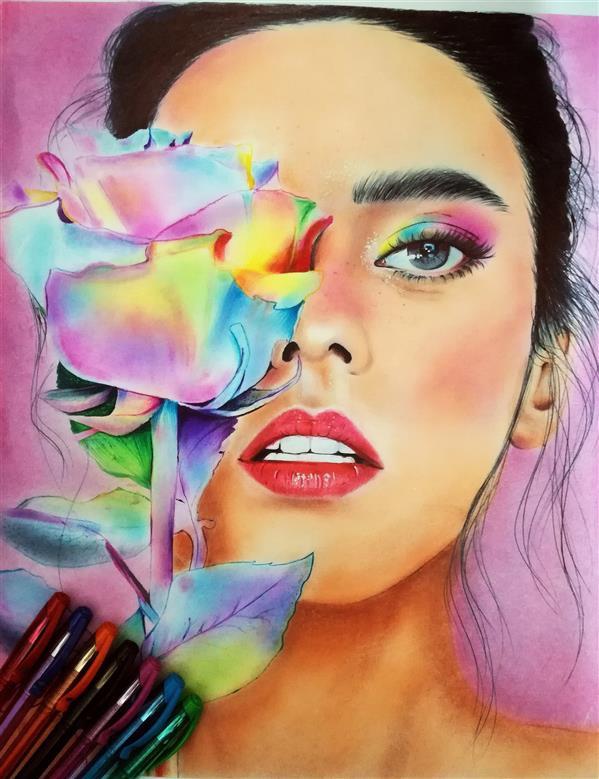 هنر نقاشی و گرافیک محفل نقاشی و گرافیک مهناز چگینی  تکنیک #خودکار_رنگی