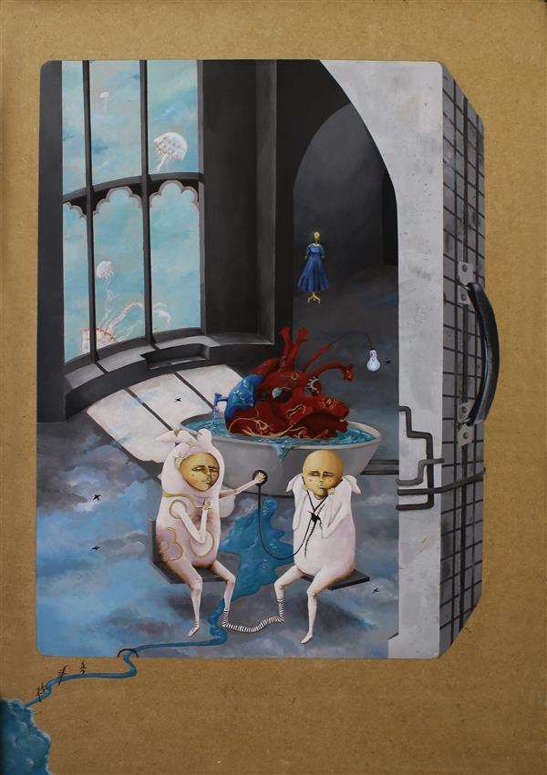 """هنر نقاشی و گرافیک محفل نقاشی و گرافیک هدی حسنی #فروخته_شد تصویرسازی - اکریلیک روی شاسی آبرنگ اندازه: 50. 70 """"اثر ارائه شده در گالری سیحون"""