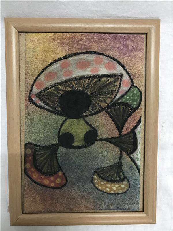 هنر نقاشی و گرافیک محفل نقاشی و گرافیک Shima Ebrahimi  #قارچ، کار با #پاستل_گچی بر روی مقوا در ابعاد ۱۸و ۲۸  به همراه قاب