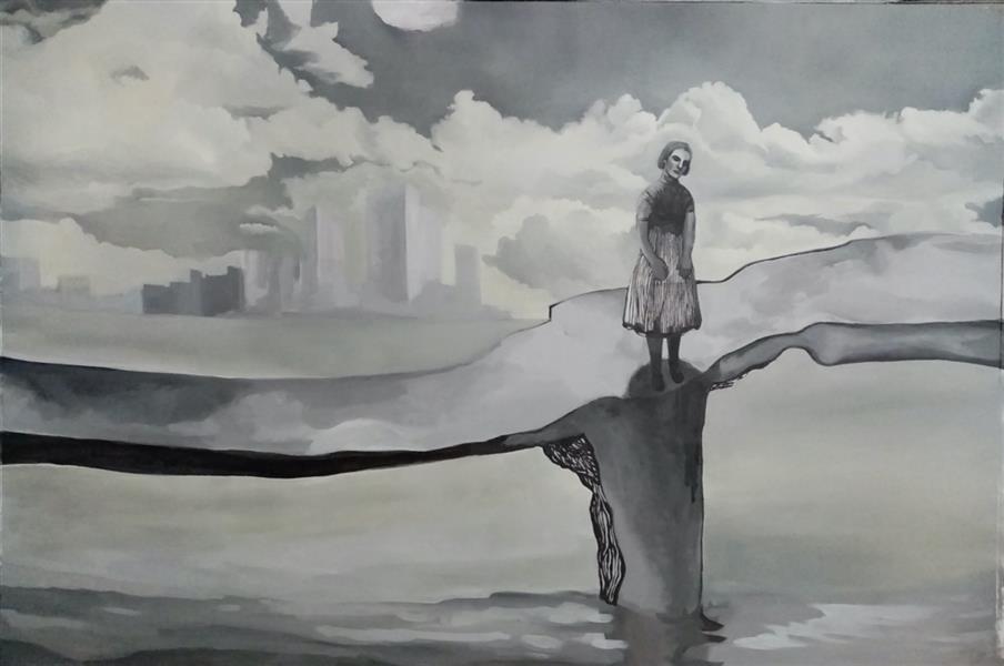 هنر نقاشی و گرافیک محفل نقاشی و گرافیک نگارخانه نگر آرتیست: سارا پویان فرد عنوان: روی پل (از مجموعه خانه مرا ترک میکند) تکنیک: اکریلیک و رنگ روغن روی بوم