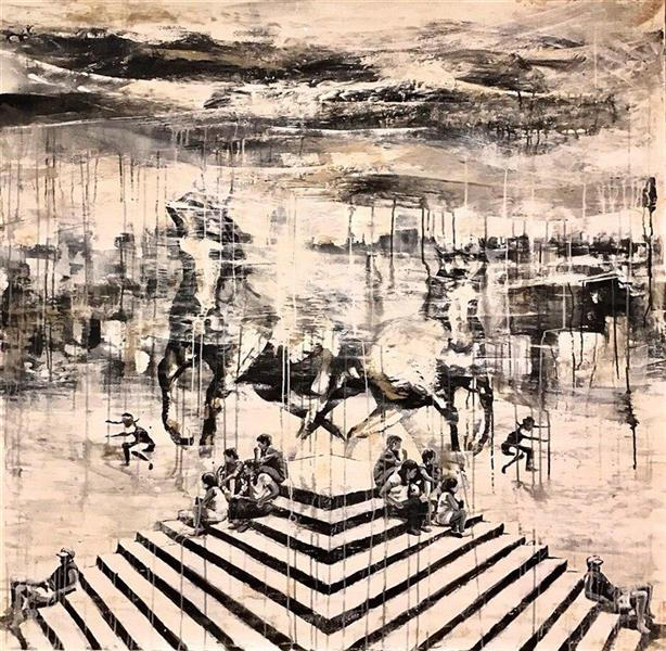 هنر نقاشی و گرافیک محفل نقاشی و گرافیک گالری والی Kavian Hazeli Mixed media  on cardboard 180 cm 180 x