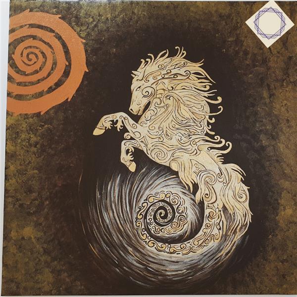 هنر نقاشی و گرافیک محفل نقاشی و گرافیک لطیفه افضلی اکریلیک و ورق مس و طلا اسب طلایی  اندازه ۷۰ در۷۰