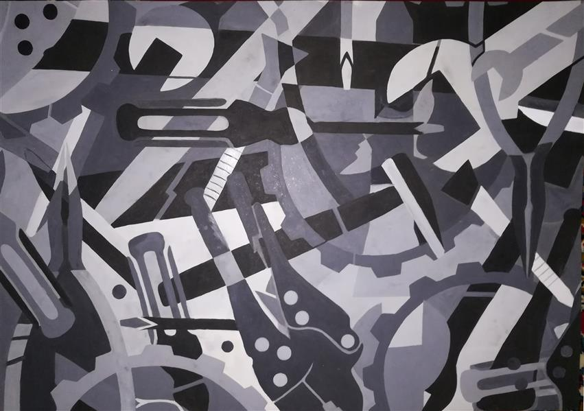 هنر نقاشی و گرافیک محفل نقاشی و گرافیک shaghayegh #موضوع#صنعت#تصاویردرهم #سبک#آزاد #تکنیک#رنگ روغن#مقوا #ابعاد#50.70