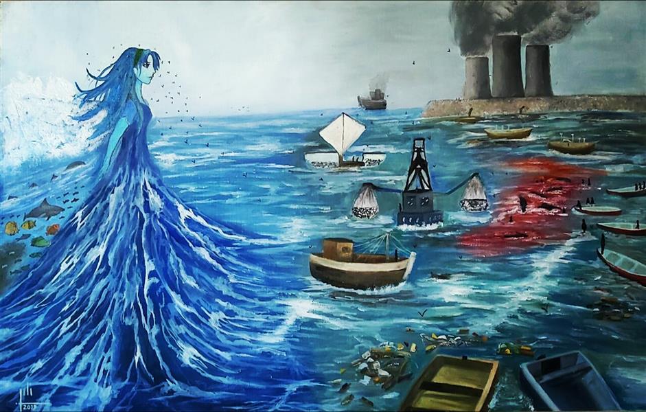 هنر نقاشی و گرافیک محفل نقاشی و گرافیک نگین بیگ محمدی ایده از خود هنر مند در مورد دریا و محیط زیست  هر گوشه از نقاشی نماد و برگرفته از واقعیات هست  به ثبت رسیده در سایت بینالمللی ژاپن (media arts festival)با نام «انتهای دریا»