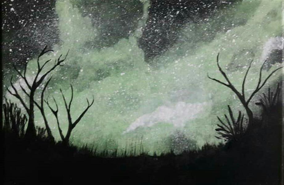 هنر نقاشی و گرافیک محفل نقاشی و گرافیک جمال ابراهیمی شب در صحرا، اکریلیک روی کاشی، ۲۰*۳۰