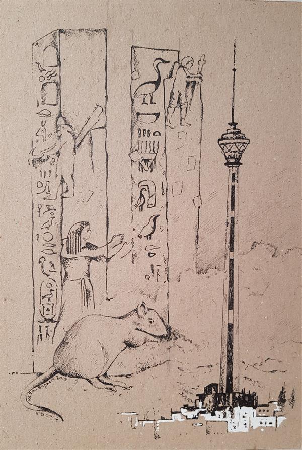 هنر نقاشی و گرافیک محفل نقاشی و گرافیک رضا باقری راپید روی کاغذ کشیده شده روی شاسی. با پاسپار تو و قاب