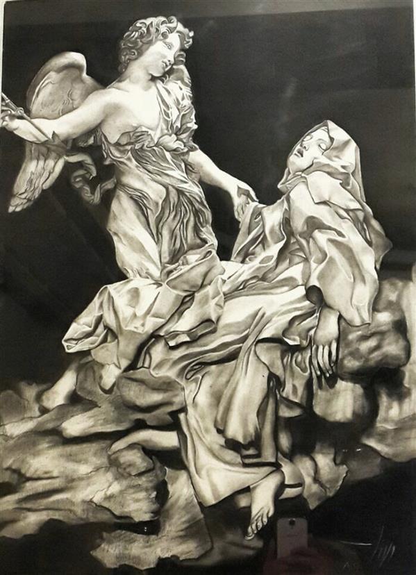 هنر نقاشی و گرافیک محفل نقاشی و گرافیک zahra-vafaee کاربا زغال سایز ۵۰در۷۰ رئالیسم طرح مجسمه  #سیاه_قلم #زغال #طرحی #مجسمه #میکلانژ #رئالیسم