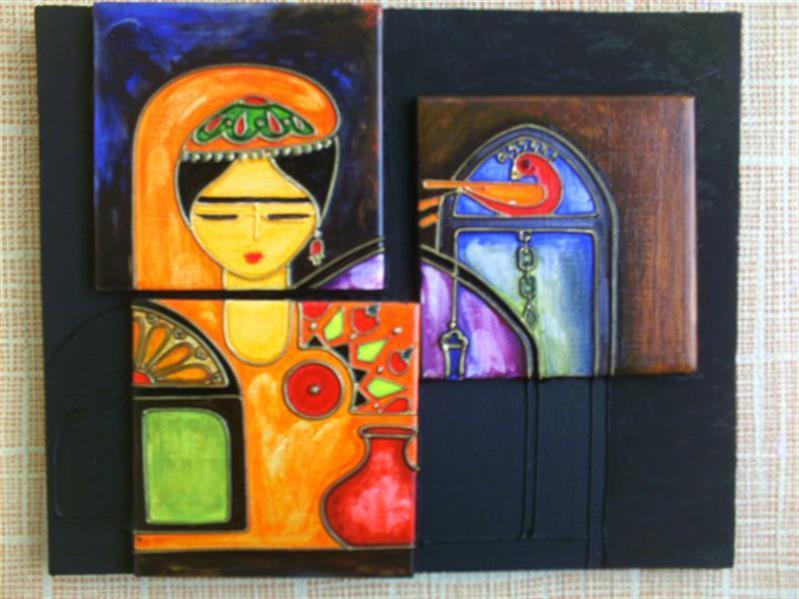 هنر نقاشی و گرافیک محفل نقاشی و گرافیک پرویز ودادی #ویترای روی کاشی زمینه چوب #رنگ شفاف (ترانس)
