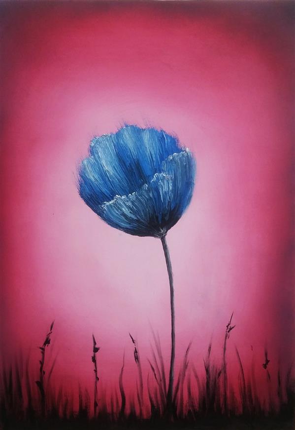 """هنر نقاشی و گرافیک محفل نقاشی و گرافیک میلاد قهرمانی رنگ روغن روی بوم سایز 50 در 70 نام اثر: """"cobalt flower"""""""