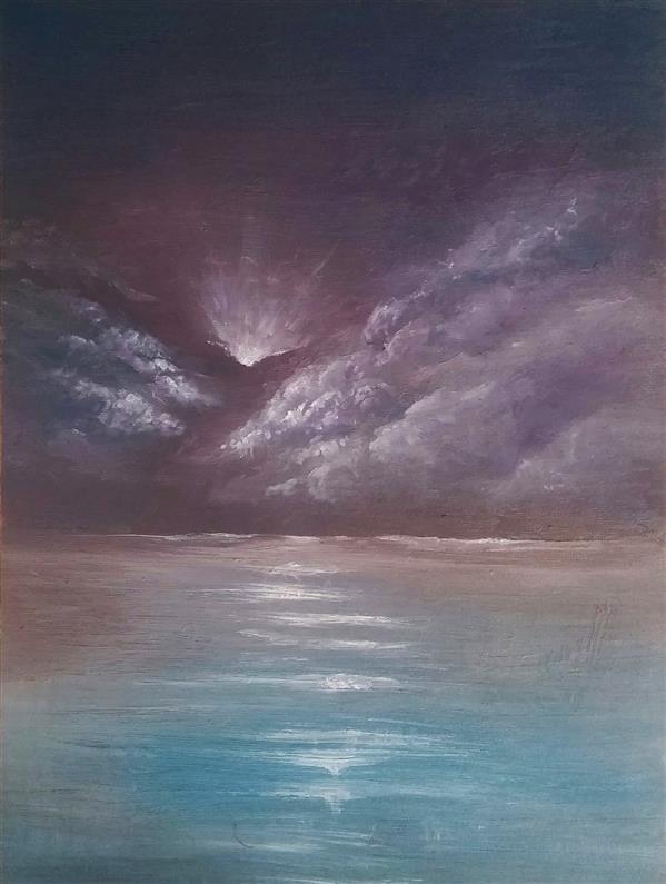 هنر نقاشی و گرافیک محفل نقاشی و گرافیک میلاد قهرمانی #دریا و #ابر هایش  رنگ روغن روی بوم سایز 40 در 30