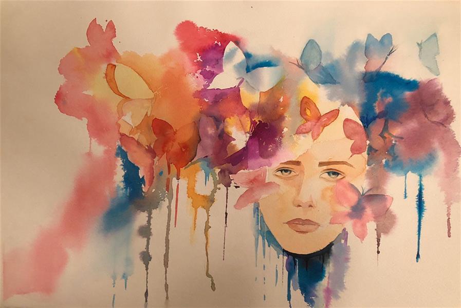 هنر نقاشی و گرافیک محفل نقاشی و گرافیک سحرصدرایی #ابرنگ با قاب و پاسپارتو ۳۵در۵۰