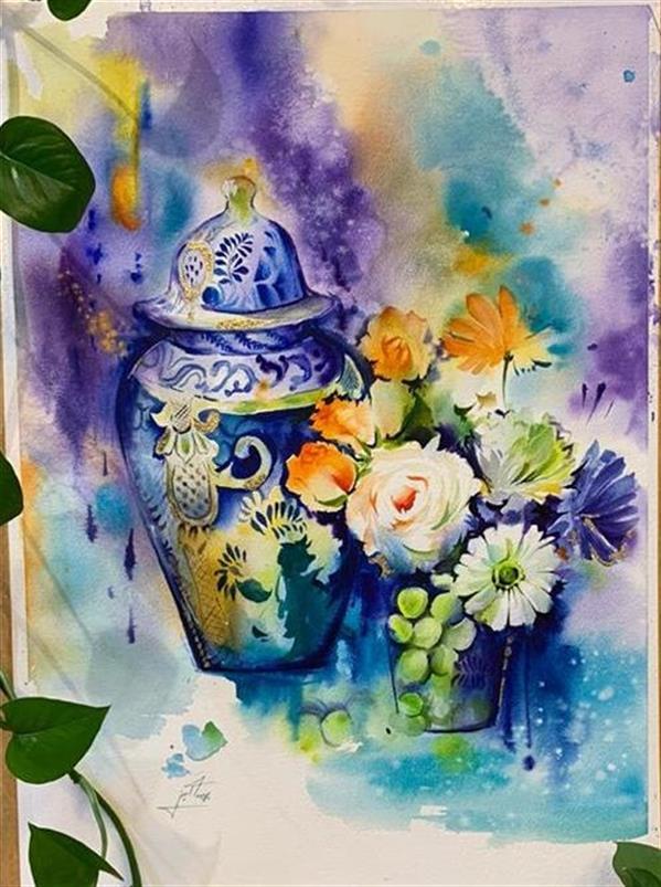 هنر نقاشی و گرافیک محفل نقاشی و گرافیک پریسا امینی شریفی #نقاشی_آبرنگ #مقوای آرچ  همراه با قاب
