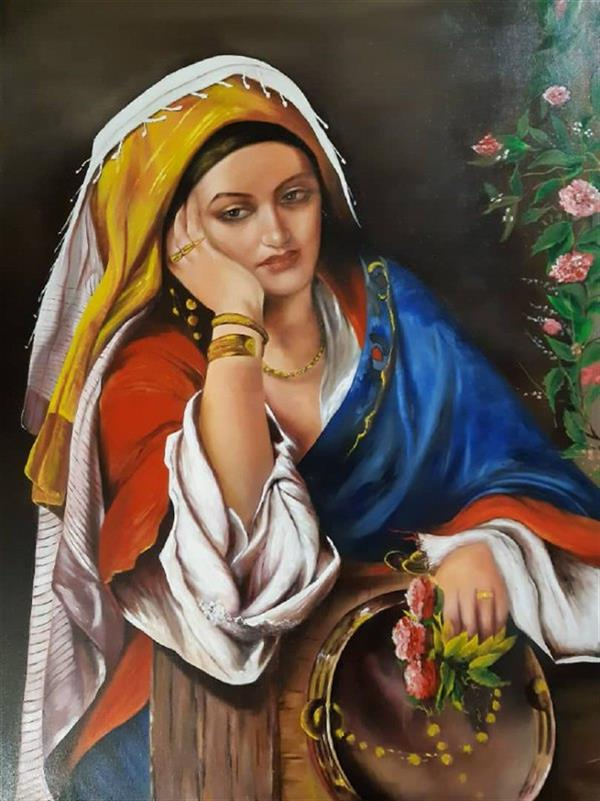 هنر نقاشی و گرافیک محفل نقاشی و گرافیک ندا عباسلو  #ابعاد ۸۸*۶۸  #تابلوی نقاشی #رنگ روغن  #کولی غمگین