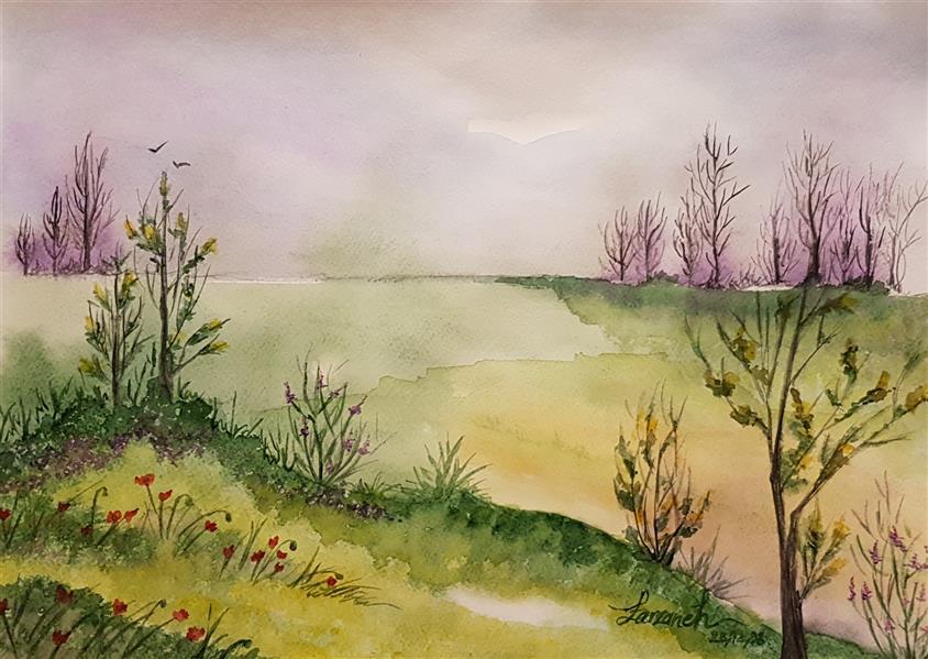 هنر نقاشی و گرافیک محفل نقاشی و گرافیک فرزانه سلمانی #طبیعت#منظره#زیبایی تکنیک:آبرنگ روی مقوا